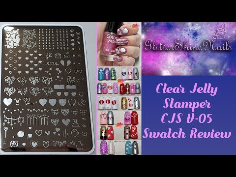 Clear Jelly Stamper Stamping Plate Swatch Review  CJS V05 Valentine's