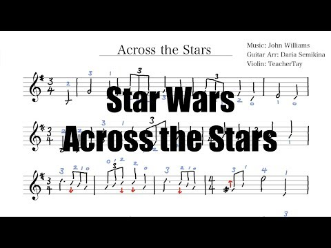 Star Wars Across the Stars Violin Sheet Music with Fingering