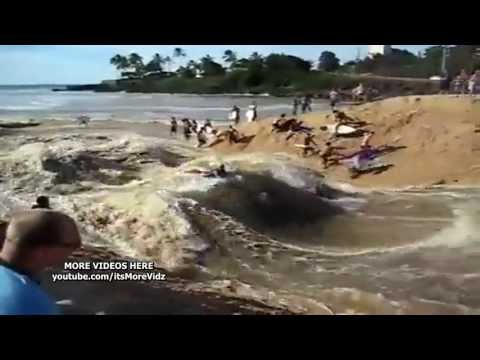 Raging RIVER SURFING at the BEACH!