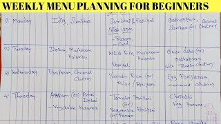 Weekly Menu Planning for Beginners Time Management Tips Pre-Preparation & Vegetables Purchase Tips