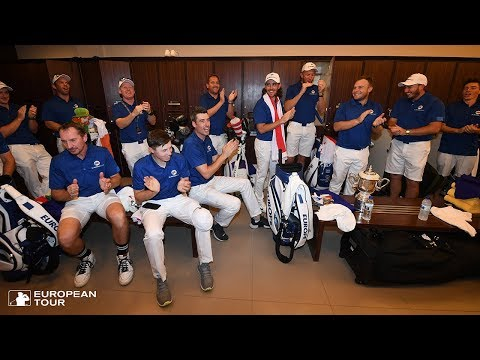 Celebrations in the European Team room | 2018 EurAsia Cup