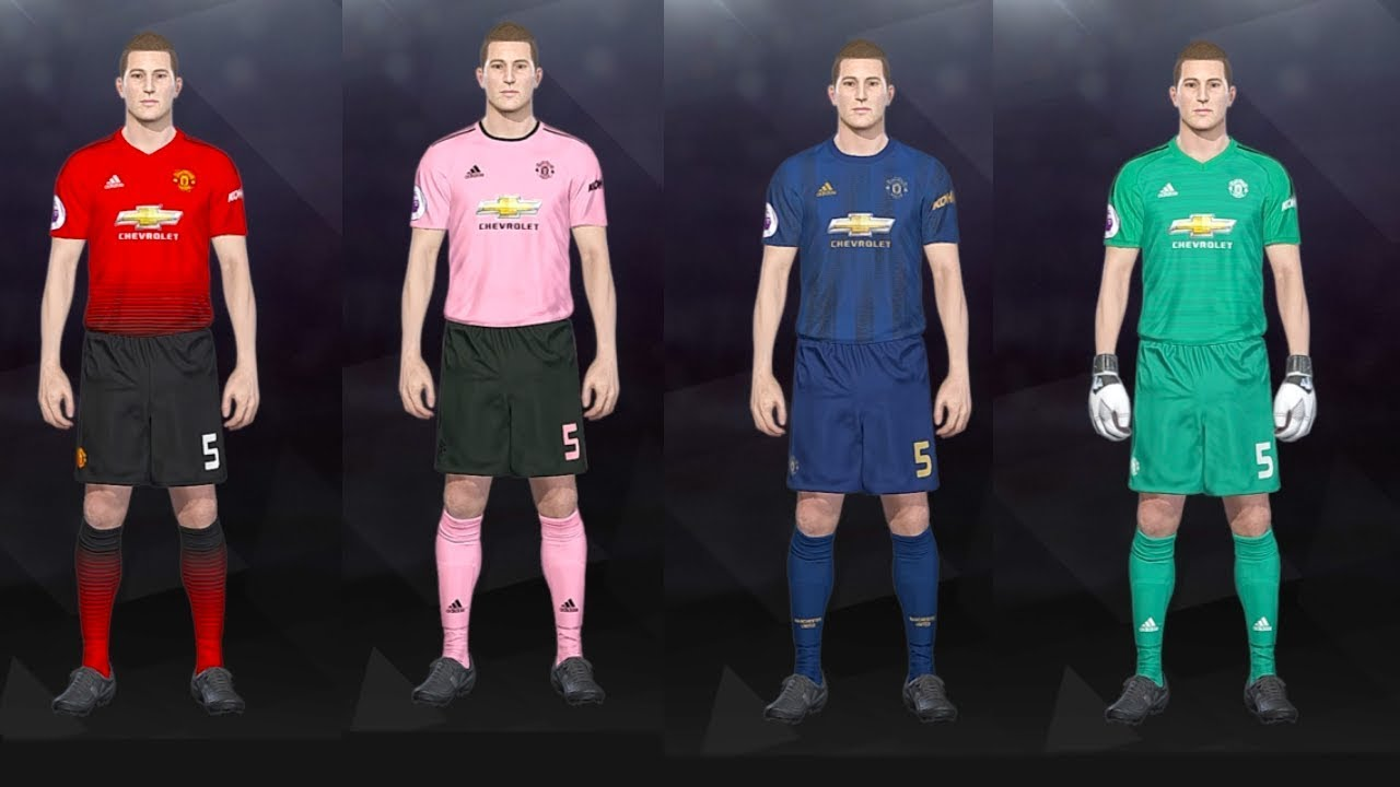 ace17b905 PES 2018 - Manchester United 2018 19 Season Kits (PS4) - YouTube