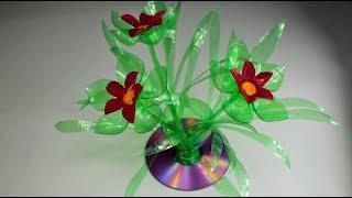 প্লাস্টিকের বোতল দিয়ে সুন্দর ফুল বানানো শিখুন - Make Amazing Flower With Green Plastic Bottles