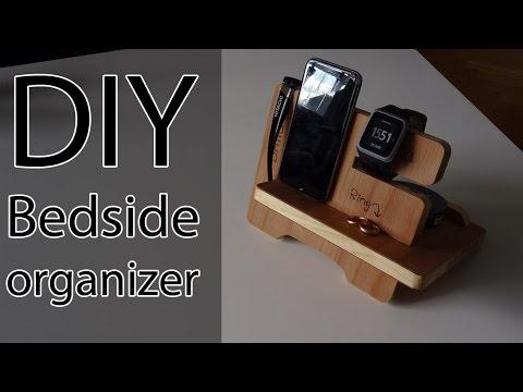 DIY Bedside organizer. Phone dock.