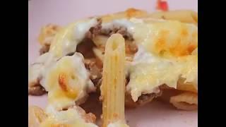 Запеченные макароны с фаршем в сливочном соусе