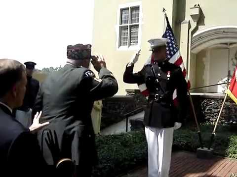 Marine gives First Salute to Grandfather, WWII Veteran