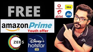 Amazon Prime Membership Free | Zee5 and Disney Hostar Vip Free With Airtel VI and Jio Recharge Plans