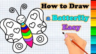 How To Draw a Cartoon Butterfly step by step for Kids & Coloring