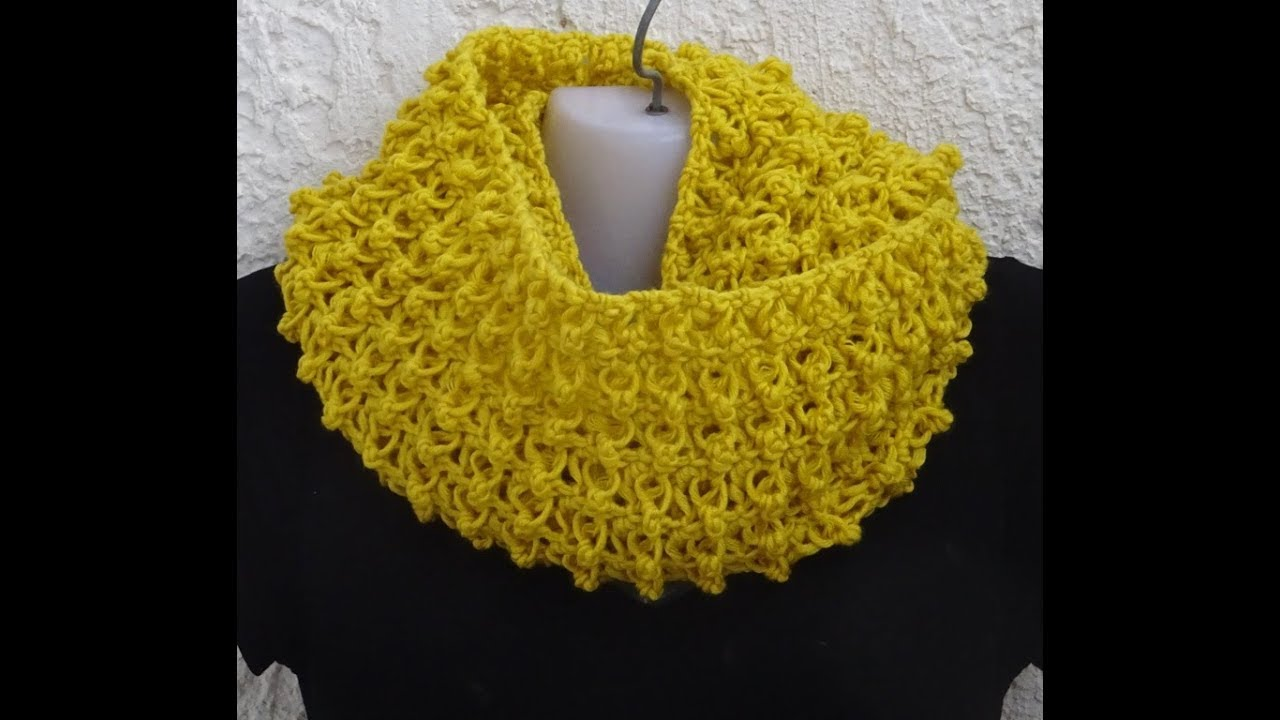 CROCHET INFINITY SCARF NR2 EASY ONE ROW REPEAT PATTERN