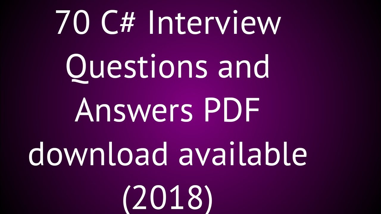 C Sharp Interview Questions And Answers For Freshers Pdf