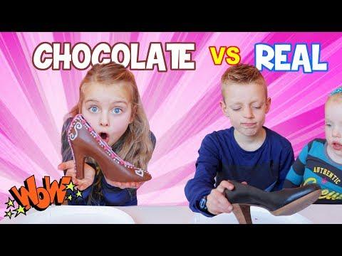 CHOCOLATE vs REAL CHALLENGE!! ♥DeZoeteZusjes♥