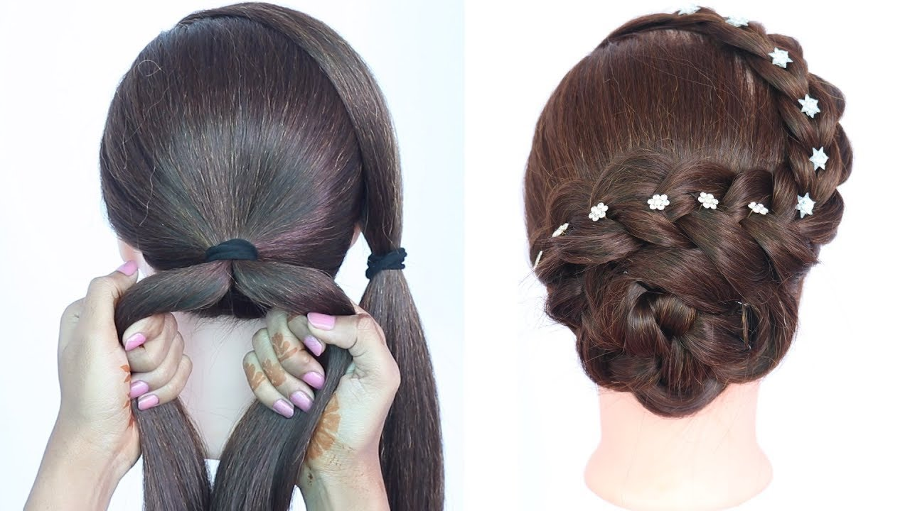 new easy hairstyle with trick ( raksha bandhan special )  braided  hairstyles  updo hairstyle