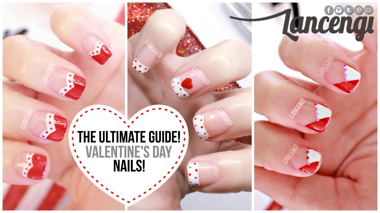 Nail Art For Beginners #20 : No Tools - Valentines Day French ...