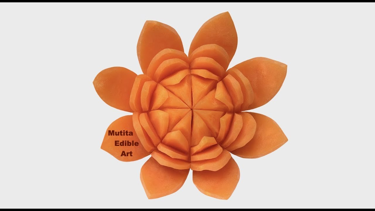 Carrot Lotus Simple Flower Beginners Lesson 197 Mutita Art Of