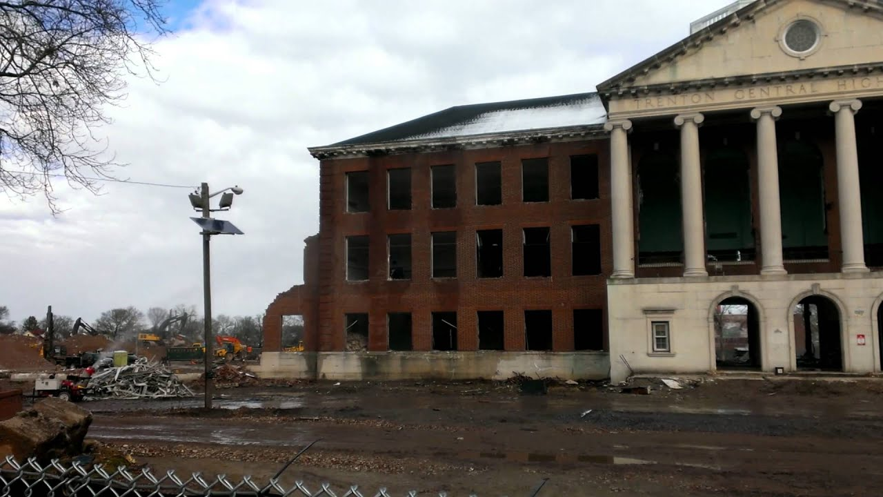 Trenton Water Tower Demolition : Trenton central high school clock tower demolition youtube