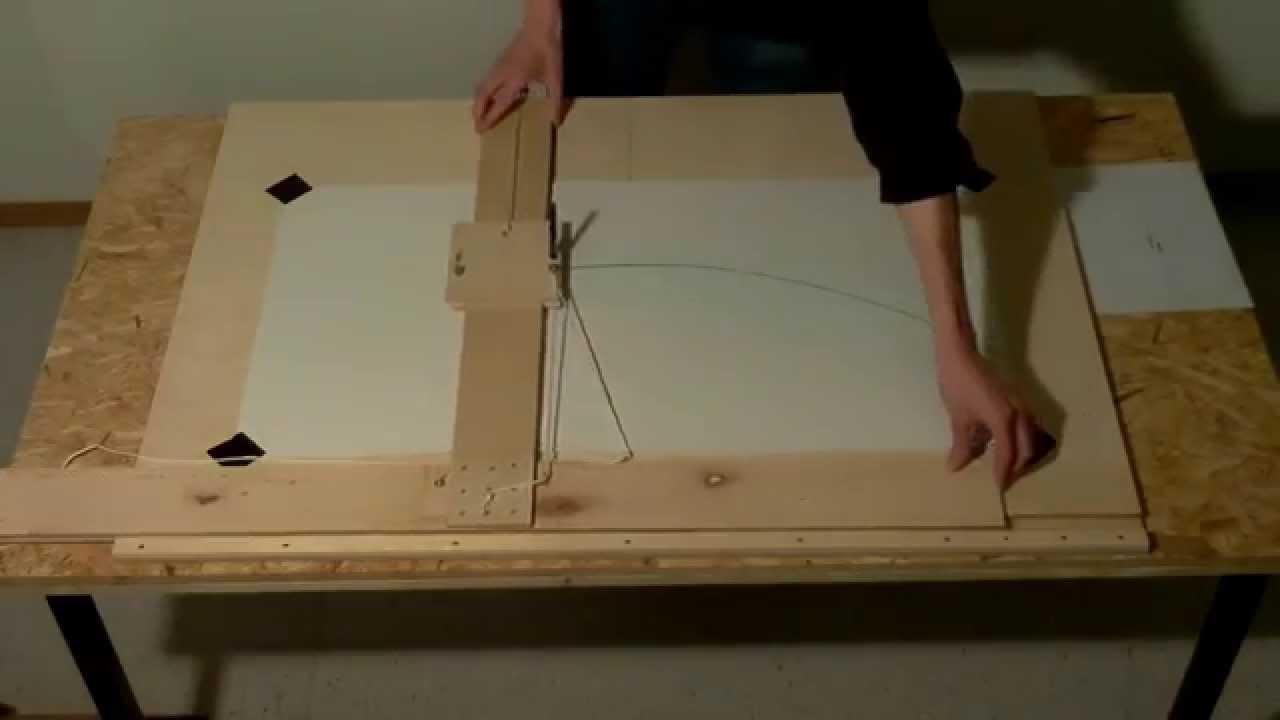 zeichnen einer parabel mit selbst gebautem tool um eine. Black Bedroom Furniture Sets. Home Design Ideas
