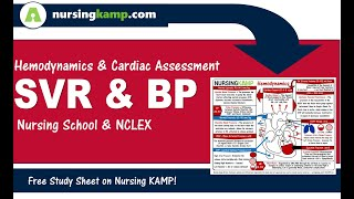 What is Blood Pressure and SVR Mean Arterial Pressure for Nursing KAMP ICU NCLEX 2019