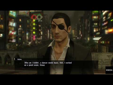 YAKUZA 0 - Majima dancing and singing on the bridge