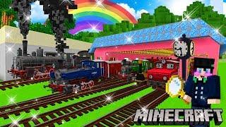 Minecraft สร้างขบวนรถไฟถ่านหินโบราณสุดสมจริง Rails Of War mod