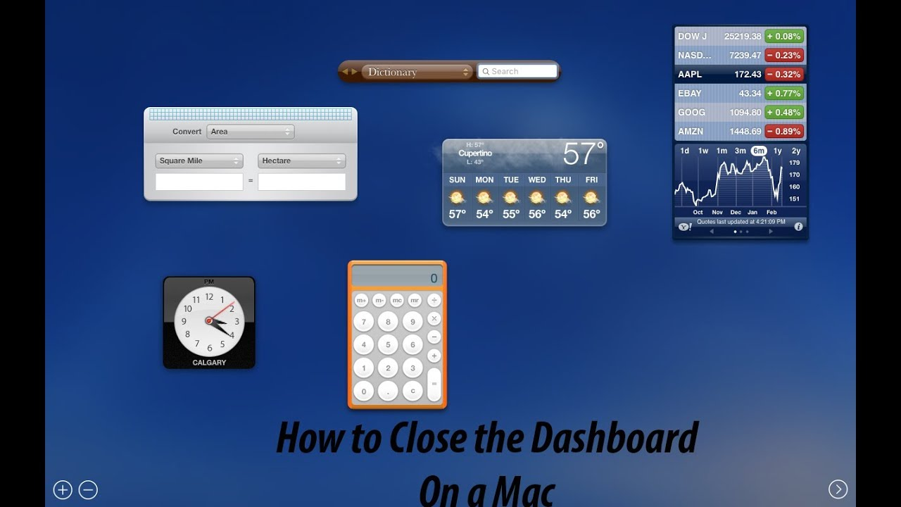 How to close dashboard in Mac OS