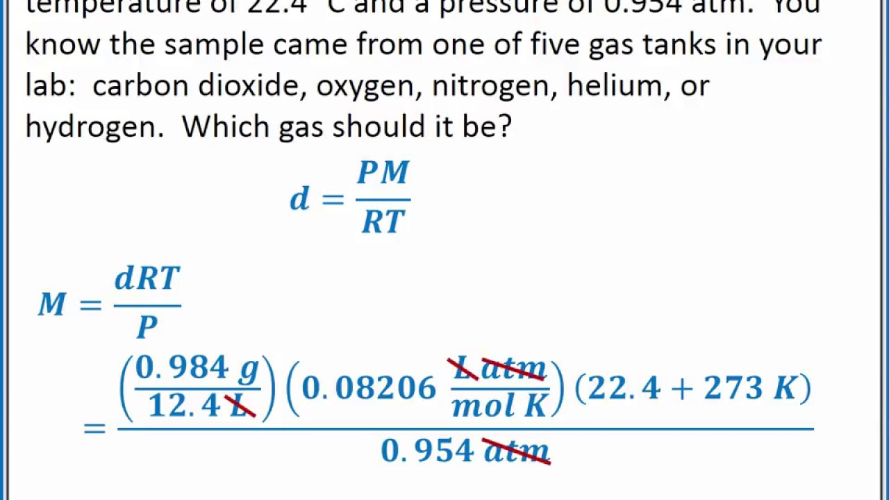 CHEMISTRY 101 - Density of a gas, molar volume, and molar ...