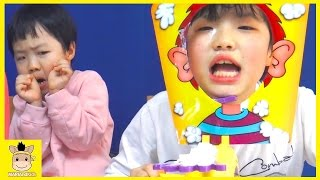 Pie Face Challenge For Kids! The Whipped Cream in the Face Game Toy Family Fun | MariAndKids Toys