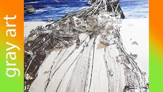 Картина акриловыми красками / Текстурная паста / Поталь