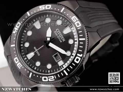 Citizen Eco-Drive Black 200M Scuba Fin Divers Watch BN0095-08E. NZwatches 5c640a826