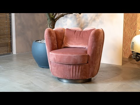 Velvet fauteuil Maria zwart draaibaar
