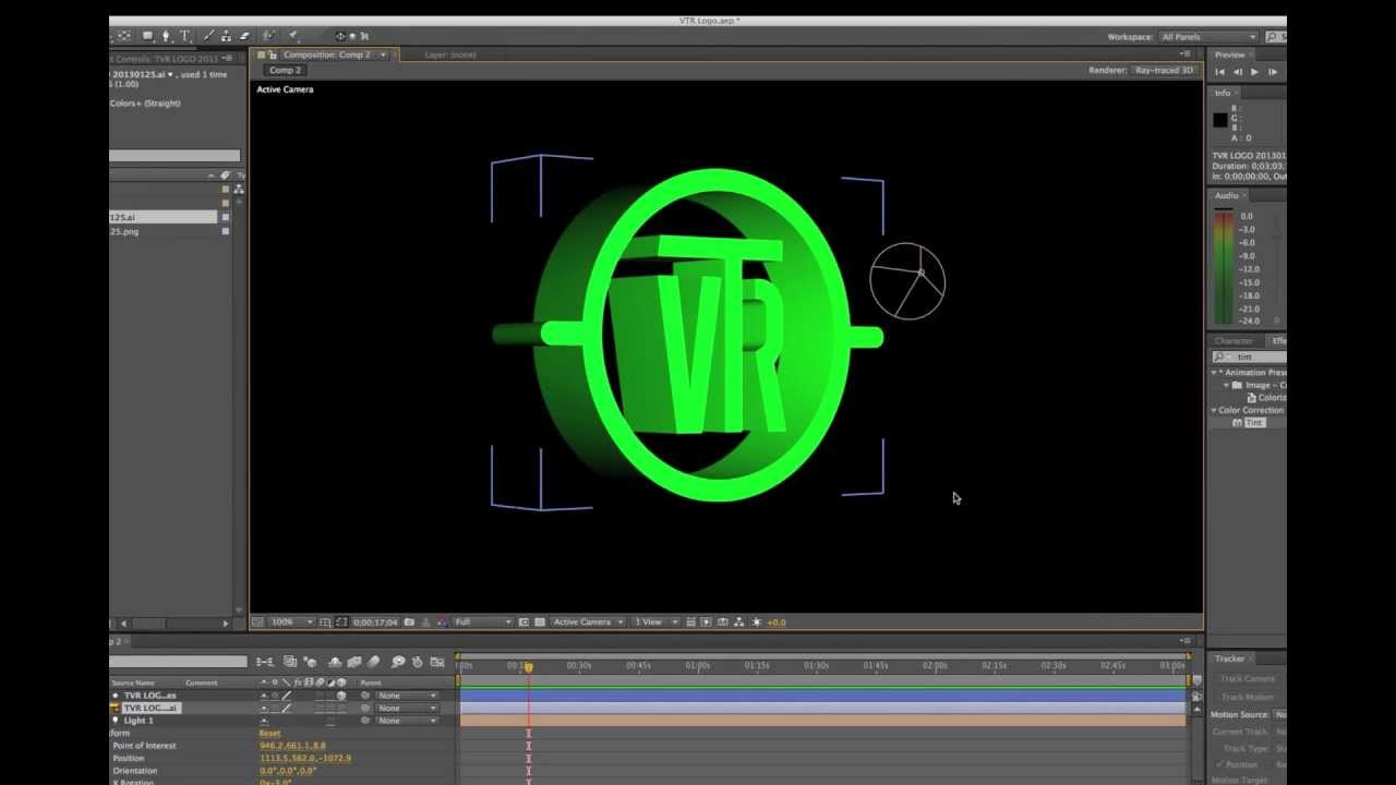 After effects tutorial raytrace 3d logo youtube for Habitacion 3d after effects