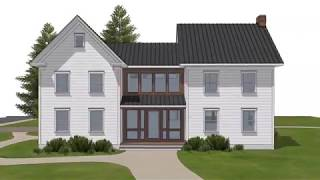 Plan D202a - American Homestead Revisited, With Two-car Garage