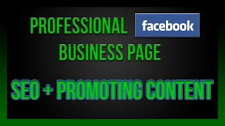 Creating a Facebook business page + SEO tips