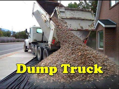 Big Dump Trucks >> Landscaping Dump Truck Unloading Rocks - Girls - YouTube