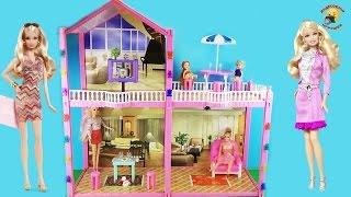 Домик для кукол Барби и других. Двухэтажный с мебелью / Doll house with furniture, Barbie(Канал Дианы Красотки: https://www.youtube.com/channel/UCxvSb1FGDpG3xzcNbdk14_w Двухэтажный домик для кукол до 29 см. Обзор аксессуаров..., 2015-09-05T15:08:18.000Z)
