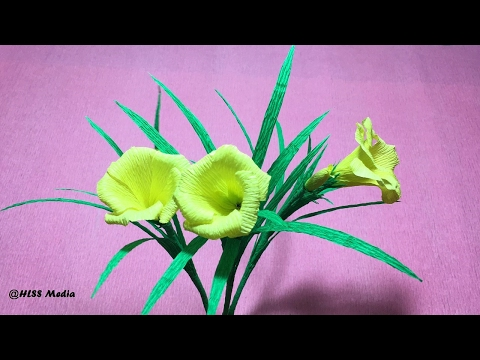 How to make origami yellow oleander flower by crepe paper easy/DIY flower folding tutorial