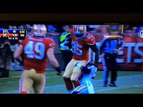 49ers Vernon Davis painfully pulled down and tackled by his junk