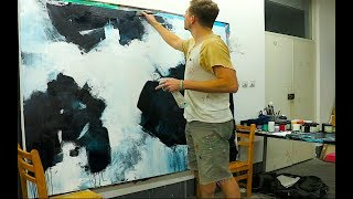 Large Abstract Painting - Black White Acrylics