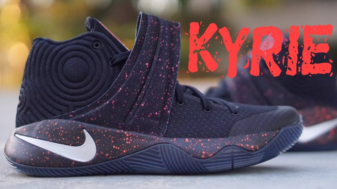 7f7c90435943 First look - Kyrie 2 black crimson speckle + on feet - YouTube