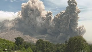 Pyroclastic Flows Swallow Farmland, Volcanic Ash Clouds - Sinabung 4K Stock Footage Screener thumbnail