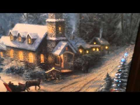 Thomas Kinkade Sunday Evening Sleigh Ride Lit Canvas Print