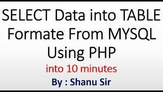 SELECT Data into Table Format from MYSQL Database using PHP