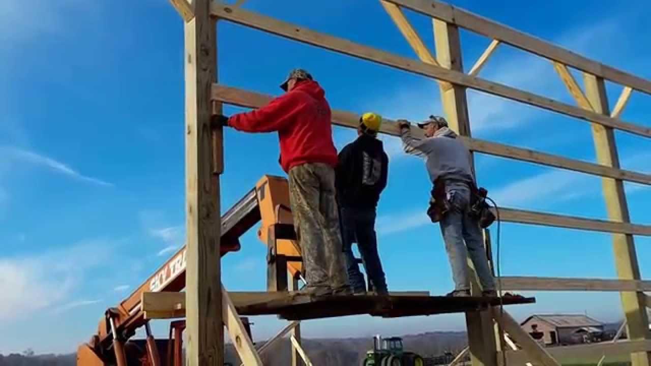 Nailing The Girts On A Pole Barn Youtube