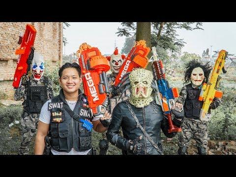 LTT Films : Squad Silver Flash Nerf Guns Fight Crime Group Tiger Mask face screw