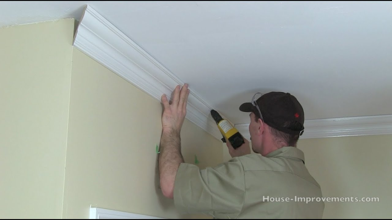 How To Cut \u0026 Install Crown Moulding - YouTube