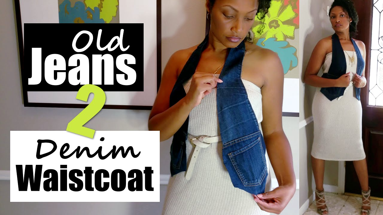 Ways to recycle old jeans - How To Turn Old Jeans Into A Denim Waistcoat Vest No Sew Summer To Fall Lookbook Blueprint Diy Youtube