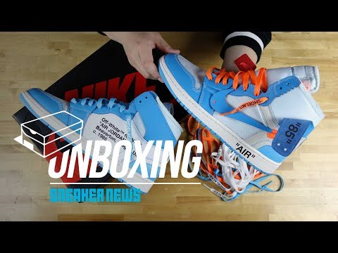 "e0294b5c6e548 Off White Air Jordan 1 ""UNC"" Unboxing + Review - YouTube"