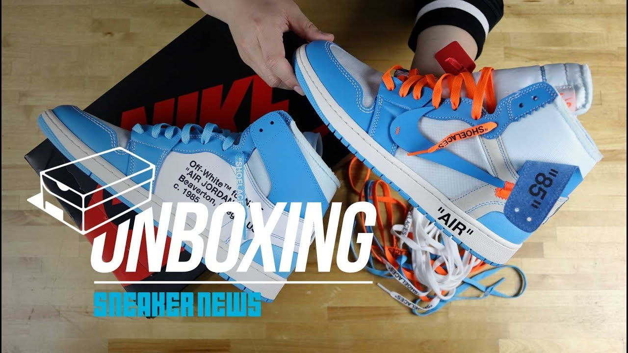"huge discount 6c333 2f5e5 Off White Air Jordan 1 ""UNC"" Unboxing + Review"