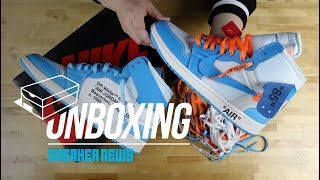 "Off White Air Jordan 1 ""UNC"" Unboxing + Review"