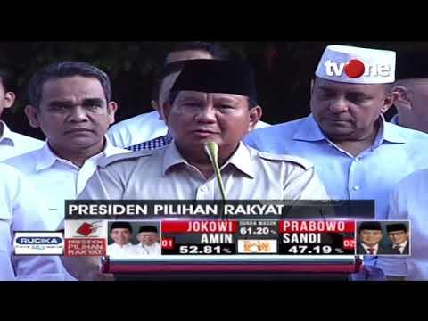 Konferensi Pers Prabowo Subianto Tanggapi Hasil Hitung Cepat Pilpres 2019