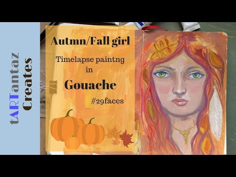 fall / autumn whimsical big eyed girl painting demonstration in gouache – 29 faces